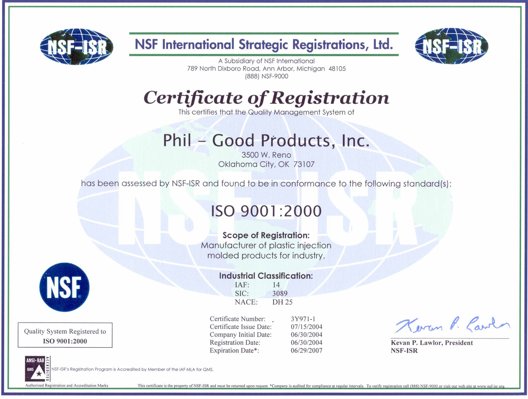 Custom injection molding phil good products inc oklahoma city if you would like to download a copy of phil good products inc iso 9000 2008 certificate of registration click on the following link iso certification xflitez Images